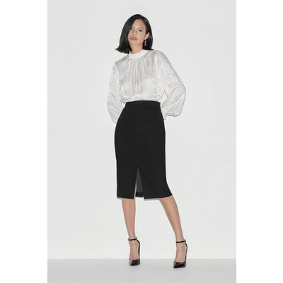 Karen Millen Label Italian Stretch Wool Skirt -, Black