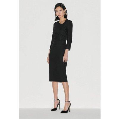 Karen Millen Label Italian Stretch Wool Tuck Dress -, Black