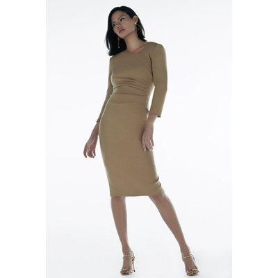 Karen Millen Black Label Italian Stretch Wool Tuck Dress -, Camel