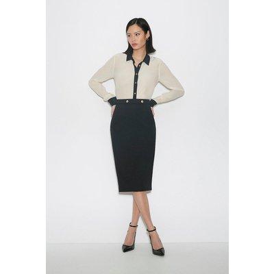 Karen Millen Italian Compact Milano Jersey Skirt -, Black