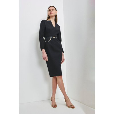 Karen Millen Label Italian Compact Milano Jersey Dress -, Black