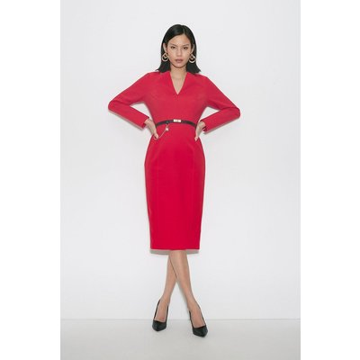 Karen Millen Black Label Italian Compact Milano Jersey Dress -, Red