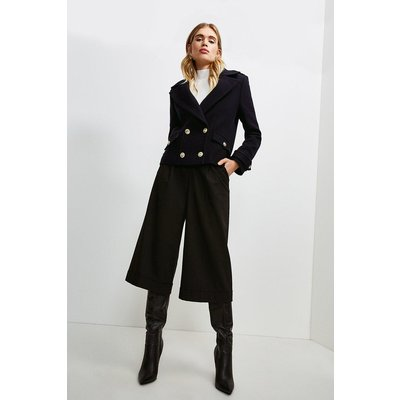Karen Millen Wool Pea Coat -, Navy
