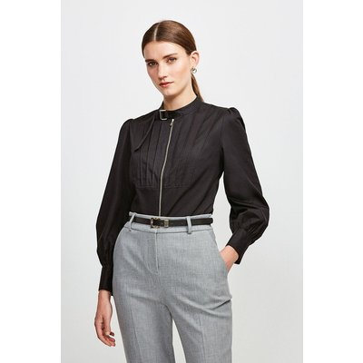Karen Millen Poplin Blouse With Pleat And D Ring Detail -, Black