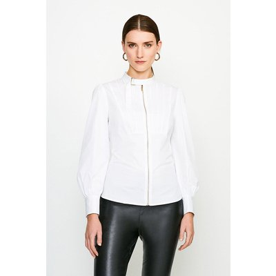 Karen Millen Poplin Blouse With Pleat And D Ring Detail -, White