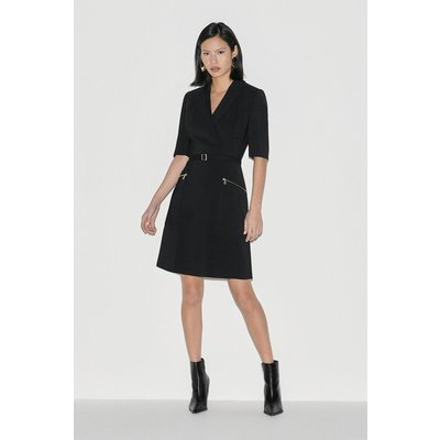 Karen Millen Italian Stretch A Line Dress -, Black