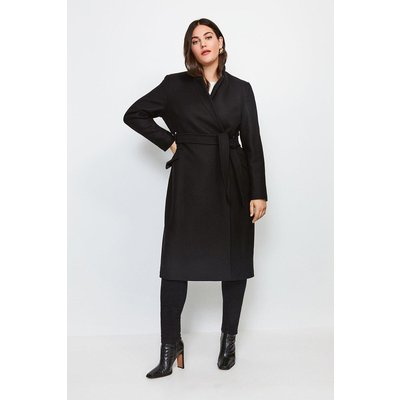 Karen Millen Curve  Notch Neck Rivet Coat, Black