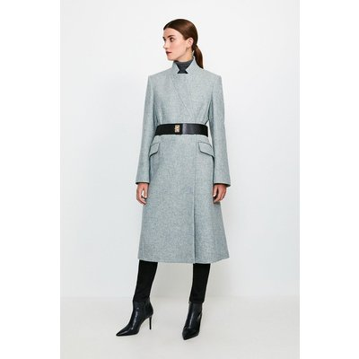 Karen Millen Hardware Belted Wool Coat, Grey
