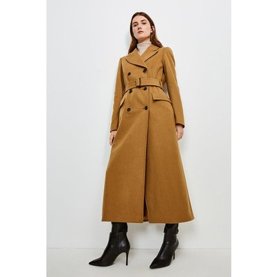 Karen Millen Wool Rich Buckle Belted Double Breasted Coat -, Camel