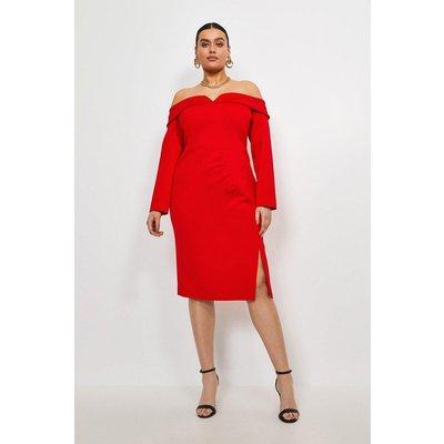 Karen Millen Curve Italian Jersey Bardot Sleeved Dress -, Red