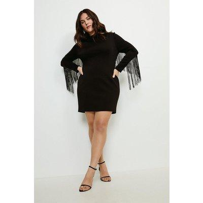 Karen Millen Curve Italian Jersey Fringe Dress -, Black