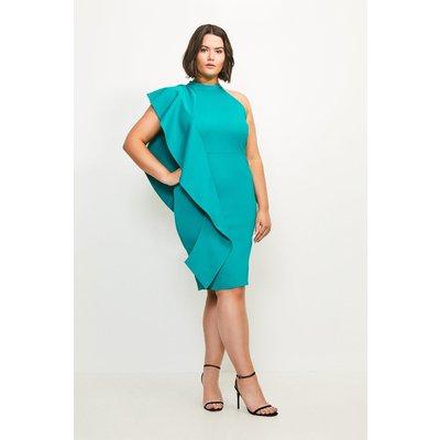 Karen Millen Curve Italian Rib Frill Dress -, Green
