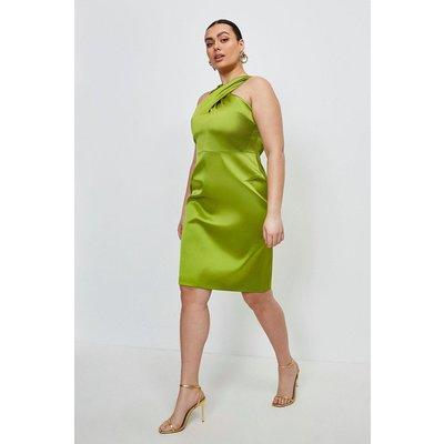 Karen Millen Curve Italian Satin Halterneck Dress -, Chartreuse