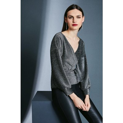 Karen Millen Glitter Off Shoulder Jersey Top -, Silver