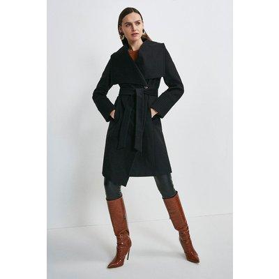 Karen Millen Italian Virgin Wool Multi Stitch Cuff Coat -, Black