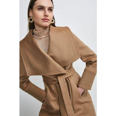 Karen Millen Italian Virgin Wool Multi Stitch Cuff Coat -, Camel