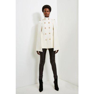 Karen Millen Italian Wool Rich Military Cape -, Ivory