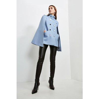 Karen Millen Italian Wool Rich Military Cape -, Pale Blue