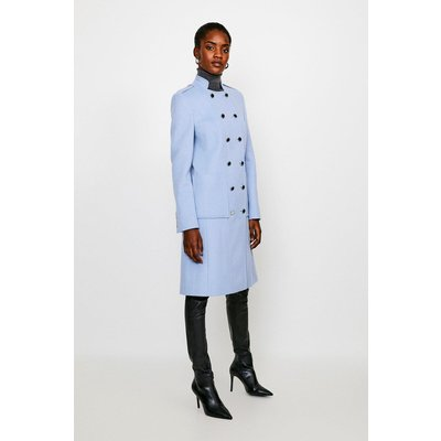 Karen Millen Italian Wool Rich Military Coat -, Pale Blue