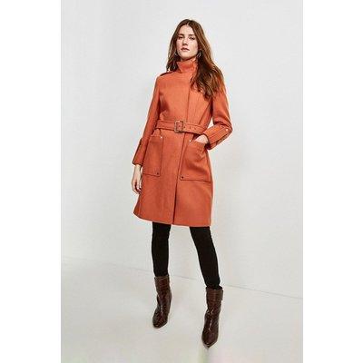 Karen Millen Italian Wool Blend Belted Cocoon Coat -, Orange
