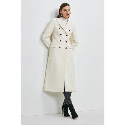 Karen Millen Italian Wool Rich Tailored Double Breasted Coat -, Ivory