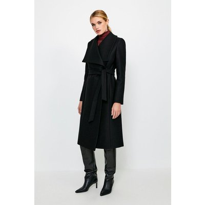 Karen Millen Italian Wool Blend Shawl Collar Coat, Black