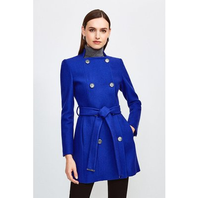 Karen Millen Italian Wool Blend Military Belted Coat -, Blue