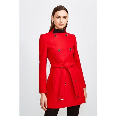 Karen Millen Italian Wool Blend Military Belted Coat -, Red
