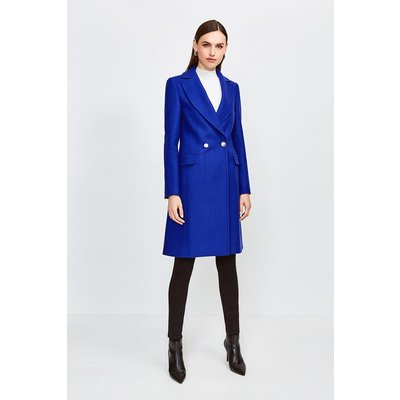 Karen Millen Italian Wool Blend Double Breasted Coat, Blue