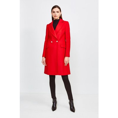 Karen Millen Italian Wool Blend Double Breasted Coat, Red