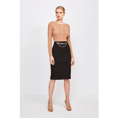 Karen Millen Structured Crepe Snaffle Pencil Skirt -, Black