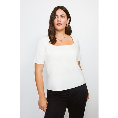 Karen Millen Curve Ponte Square Neck Short Sleeve Top, Ivory