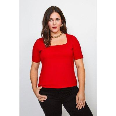 Karen Millen Curve Ponte Square Neck Short Sleeve Top, Red