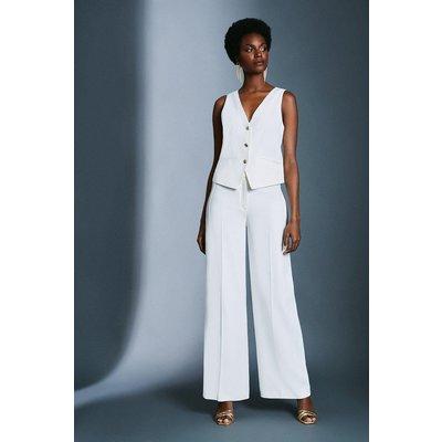 Karen Millen Satin Back Crepe Wide Leg Trousers, Ivory
