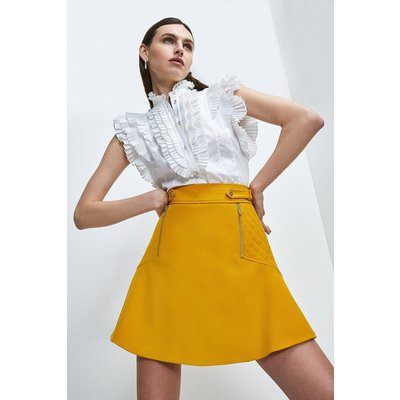 Karen Millen Structured Crepe Quilted Panelled A Line Skirt -, Orange