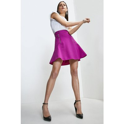Karen Millen Structured Crepe Quilted Panelled A Line Skirt -, Purple