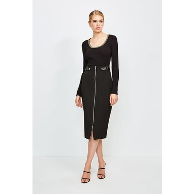 Karen Millen Structured Crepe Waist Tab Pencil Skirt -, Black