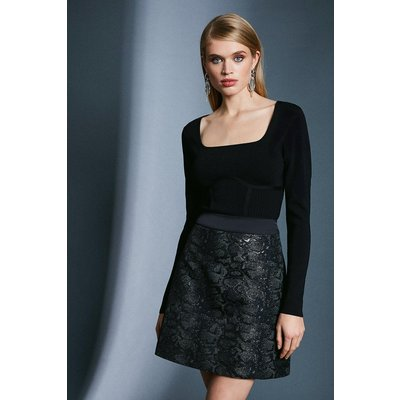 Karen Millen Snake Jacquard A Line Skirt -, Black