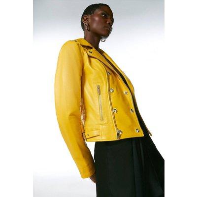Karen Millen Military Leather Biker -, Yellow