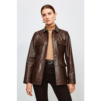 Karen Millen Leather belted Safari Jacket, Brown
