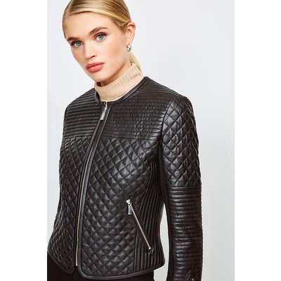 Karen Millen Multi Quilted Collarless Leather Jacket, Black