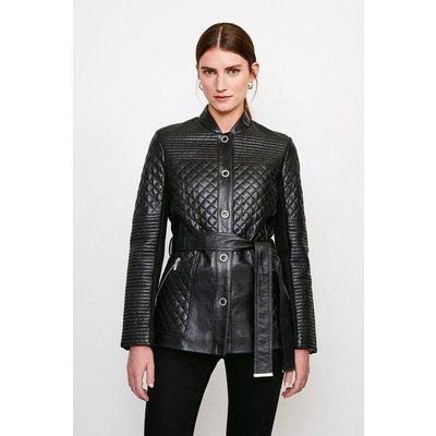 Karen Millen Multi Quilted Belted Leather Jacket -, Black