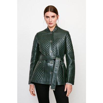Karen Millen Multi Quilted Belted Leather Jacket -, Green