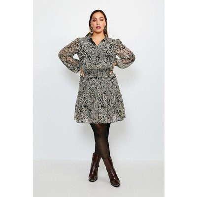 Karen Millen Curve Paisley High Neck Short Dress -, Black