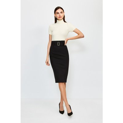 Karen Millen Ponte Belted Pencil Skirt -, Black