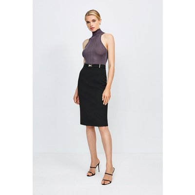 Karen Millen Forever Cinch Belted Pencil Skirt -, Black