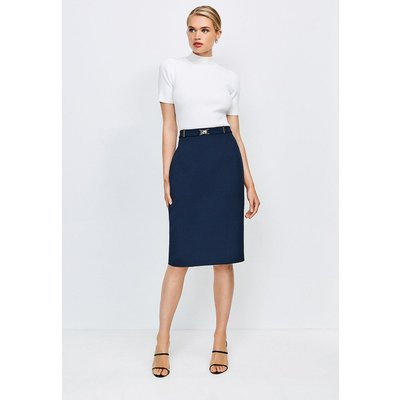 Karen Millen Forever Cinch Belted Pencil Skirt -, Navy