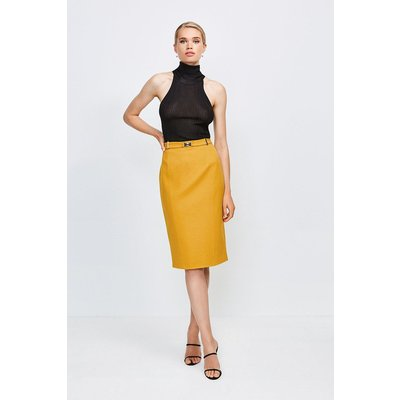 Karen Millen Forever Cinch Belted Pencil Skirt -, Orange