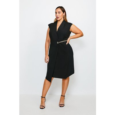 Karen Millen Curve Compact Stretch Chain Link Wrap Dress -, Black
