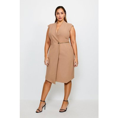 Karen Millen Curve Compact Stretch Chain Link Wrap Dress -, Camel